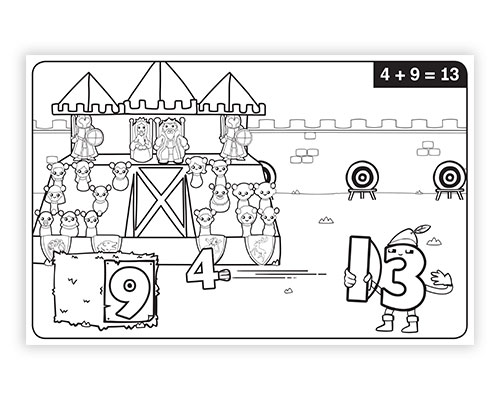 Math Facts Addition & Subtraction Coloring Book 3