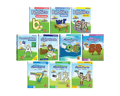 Includes All 8 Workbooks (Preschool Prep Basic Skills, Sight Words, Blends, Digraphs, Letter Sounds, and Math Facts Level 1, 2 & 3)